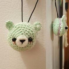 Whipped up a teeny keychain today using crochet thread! #crochet #amigurumi #macaron #bear #kawaii #cute #keychain #handmade #diy #yxe by cutiepieamigurumi