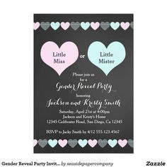 Shop Gender Reveal Party Invitation Hearts created by seasidepapercompany. Personalize it with photos & text or purchase as is! Gender Reveal Party Invitations, Online Invitations, Custom Invitations, Baby Shower Invitations, Etsy Gender Reveal, Baby Gender Reveal Party, Invitation App, Invitation Examples, Heart Party