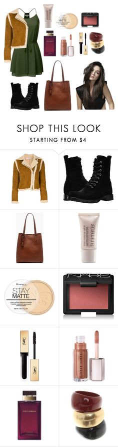 """Allison Argent Outfit No. 1"" by kahupaul ❤ liked on Polyvore featuring J.W. Anderson, Frye, J.Crew, Laura Mercier, Rimmel, NARS Cosmetics, Yves Saint Laurent, Dolce&Gabbana and Salvatore Ferragamo"