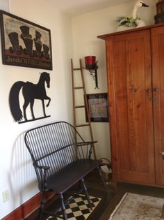 I love folk art! love the sign and the floorcloth Prim Decor, Country Decor, Rustic Decor, Primitive Decor, Old Cabinets, Floor Cloth, Country Primitive, Colonial Decorating, Decorating Ideas