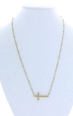 Women's Washed Sideways Gold Cross Necklace with Gold Bead Detail. UG001 http://www.amazon.com/dp/B00P6PBJBS/ref=cm_sw_r_pi_dp_sb6Bub1RB77AK