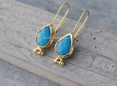 EARRINGS CONNECTOR HOOKS setting blue jade Bezel  by madameperlina