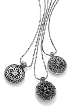 Capture the romance of a trip abroad with new Ferrara pendants inspired by the rose windows of 12th century European cathedrals.