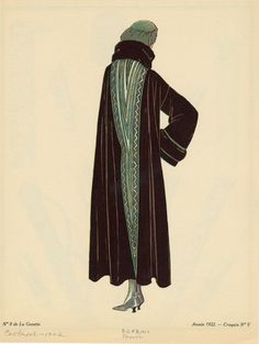 Dark Cloak With Green Accents, France, Ca. 1922. - NYPL Digital Collections