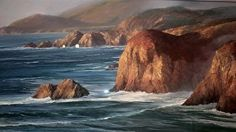 From Hurricane Point by Gil Dellinger Pastel ~ 36 x 72 Seascape Paintings, Nature Paintings, Landscape Paintings, Pacific Ocean, Pastel, Artwork, California, Outdoor, Fine Art