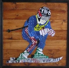 Skier Art made from license plates