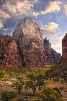 ~ The Great White Throne (6,744 ft) ~ Zion National Park, Utah....The Mormans were struck with awe when they saw Zion NP..Hence the biblical names...