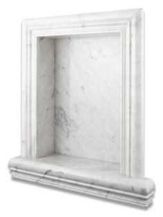 Carrara White Marble Hand-Made Custom Shampoo Niche / Shelf - LARGE - Honed