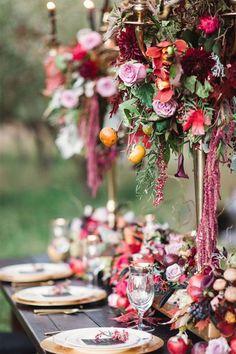Marsala. Ideas de decoración de bodas.