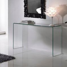 Consolle da ingresso Scarlett in vetro curvato trasparente 125 cm Mobiles, Transparent, Console Table, Oversized Mirror, Sweet Home, Vanity, Black And White, Interior Design, House