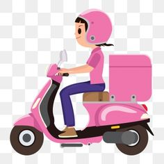 A girl riding a pink delivery scooter PNG and Vector Cute Pink Background, Watercolor Flower Background, Story Instagram, Instagram Blog, Cartoon Clip, Girl Cartoon, Vector Pop, Vector Free, Man Vector