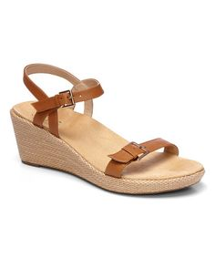 cac940dabb84 Tan Enisa Leather Wedge - Women by Vionic with Orthaheel Technology