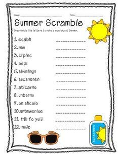 Summer Word Scramble by Mrs Elementary - Emily Cecil Preschool Activities At Home, First Day Of School Activities, Senior Activities, Summer Activities For Kids, Senior Games, Elderly Activities, Learning Activities, Teaching Resources, Printable Puzzles For Kids