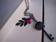 Gunmetal Gray Necklace W/ Brass Key and Vines