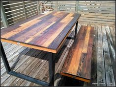 Custom Reclaimed Salvaged Wood Dining Table or Desk with Patchwork Stains