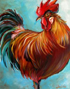 """Trellis Payne """"Purty Boy"""" Acrylic on Canvas 16 x Rooster Painting, Rooster Art, Diy Painting, Watercolor Paintings, Chicken Painting, Chicken Art, Chicken Pictures, Caran D'ache, Pintura Country"""