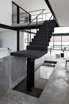 Minimal black and white Brazilian home by Estúdio BG draws on Bauhaus concepts Dezeen Architecture, Architecture Details, Interior Architecture, Interior Design, Architecture Student, Staircase Handrail, Staircase Design, Minimalist Home, Minimalist Design