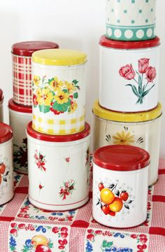 Colorful Vintage Kitchen Tins. I used to have lots of these, now I have one! Why, why, why?