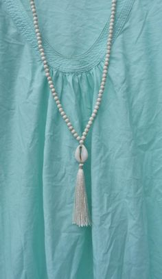long beaded tassel necklace  yoga by the sea cowrie shell necklace  by beachcombershop, $30.00