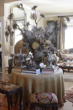 Romancing the Home  ~skirted table with books