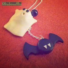 #Ghost and #Bat #Pendant for #Halloween - #Fantasma e #Pipistrello