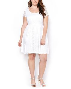 Short Sleeve Fit and Flare Lace Dress