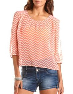 studded printed chiffon blouse