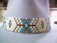 Wide Exquisite Peyote Native American Style Beaded Hatband | ajwhatbands - Accessories on ArtFire