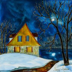 Moon Art, Beautiful Paintings, Painting Inspiration, Les Oeuvres, Stained Glass, Illustration Art, Landscape, House Styles, Image