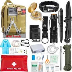 Emergency Survival Kit 47 in 1 Gear Tool SOS Emergency Tactical ❤️ Pin it please on your board Survival First Aid Kit, Emergency First Aid Kit, Emergency Survival Kit, Survival Tools, Survival Knife, Wilderness Survival, Emergency Preparation, Survival Equipment, Tactical Pen
