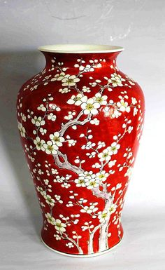 Chinese Red Glazed Porcelain Vase -- No further reference provided. Porcelain Jewelry, Porcelain Ceramics, Ceramic Pottery, Fine Porcelain, Porcelain Skin, Porcelain Tiles, Pottery Vase, Pottery Painting, Ceramic Painting