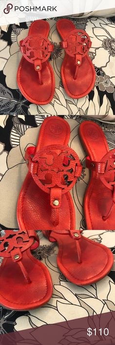 Tory Burch Miller Pebble red leather. Excellent used condition. Poppy red. Authentic! Tory Burch Shoes Sandals