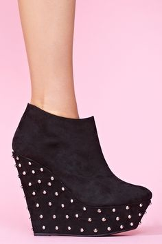Studded Wedge Boot in Black