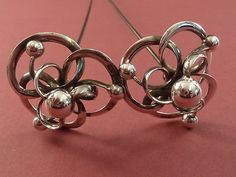Fantastic Companion Pair Of Charles Horner Silver Hat Pins Hallmarked 1912