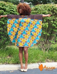 Agambii African Print Butterfly dress with chiffon free