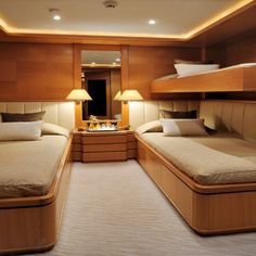 Twin Cabin - AXIOMA is a 47,50 m super yacht build by ISA Yachts and can welcome 12 guests in 6 elegant and comfortable rooms. The master cabin is on the main deck and has a study and ensuite his and her's bathroom. On the top deck there is a double cabin with ensuite bathroom and on the lower deck there are two twins and two doubles with ensuite bathrooms. M/Y AXIOMA is for charter through YACHTZOO | #Superyacht for #charter and superyachts for #sale - www.yacht-zoo.com