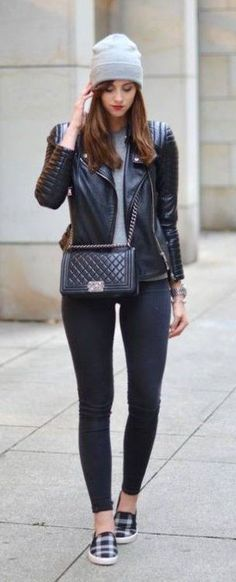 #fall #fashion / leather + beanie
