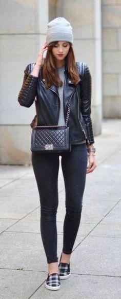 #fall #fashion / leather + beanie