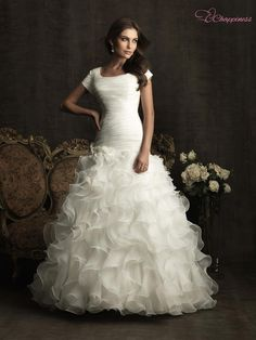 Free Shipping 2012 Hot Romantic Organza Ball Gown Modest Wedding Dress With  Sleeves on AliExpress. 71653172be29