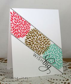 "These colors really pop off the white card base - rose, teal and brown. I love the diagonal placement and use of masking technique, and the ""wish big"" sentiment. DIY birthday card"