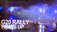 G20 rally heats up as water cannons blast protesters amidst street fires