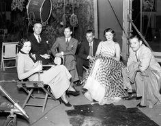 (L to R) Maureen O'Sullivan,  William Powell, W.S. Van Dyke,  Unknown, Myrna Loy, Ronald Colman