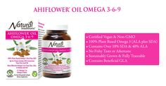 Ahiflower Omega Oil 3-6-9. Certified Vegan & Non-GMO. 100% plant based omega 3. Contains beneficial GLA. No fishy aftertaste!! Visit us at yourorganicsources.com to know more about our Ahiflower Omega Oil 3-6-9 and shop today!!