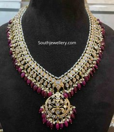 CZ, ruby and pearl necklace photo Ruby Jewelry, Wedding Jewelry, Gold Jewelry, Jewelery, Jewelry Necklaces, Beaded Jewelry Designs, Indian Jewellery Design, Indian Jewelry, Saree Jewellery