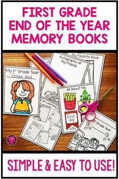 First Grade End of the Year Memory Books End Of Year Activities, Library Activities, Teaching Activities, Hands On Activities, Classroom Activities, Fun Learning, Teaching Ideas, Primary Teaching, Last Day Of School