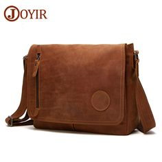 a568ce4375 96.07  Buy here - JORIR Genuine Leather Men Shoulder Bags Crazy Horse Leather  Crossbody Bags