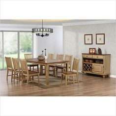 Simply Casual 9-Piece Brookhaven Rectanglar Set with Slat Back Chairs | The Simple Stores