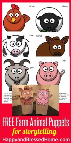 FREE Farm Animal Puppets - Happy and Blessed Home - - FREE Printable Farm Animal Puppets for storytelling – two versions – easy-to assemble and cut-and-paste Animal Art Projects, Toddler Art Projects, Animal Crafts, Toddler Crafts, Projects For Kids, Crafts For Kids, Farm Fun, Farm Theme, Preschool Activities