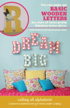 Recreate the oh-wow factor of vintage-style marquee letters using our big wooden letters. perfect for a girls bedroom Marquee Love, Marquee Letters, Marquee Lights, Diy Letters, Decorating Your Home, Diy Home Decor, Room Decor, Wall Decor, Wall Art
