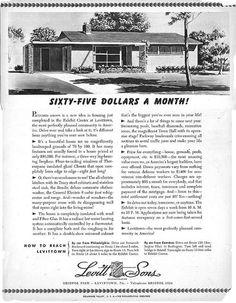 Original ad for Levittown homes. This is the model we have. It's little but we love it. ~MB